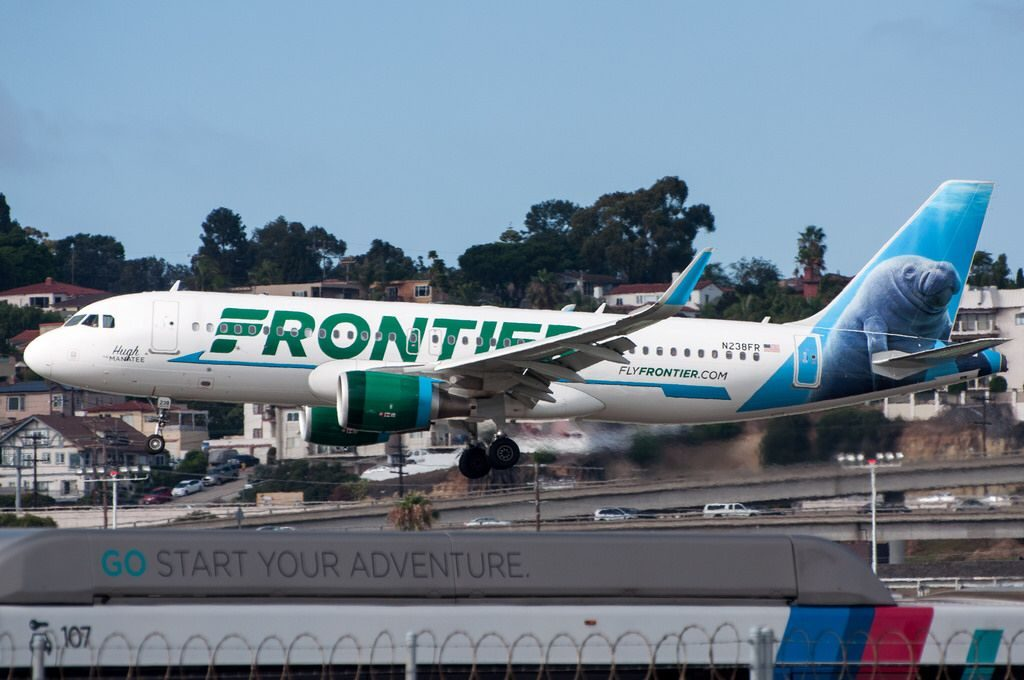 Frontier Airlines N238FR Hugh the Manatee Airbus A320 200 arriving at SAN San Diego International Airport
