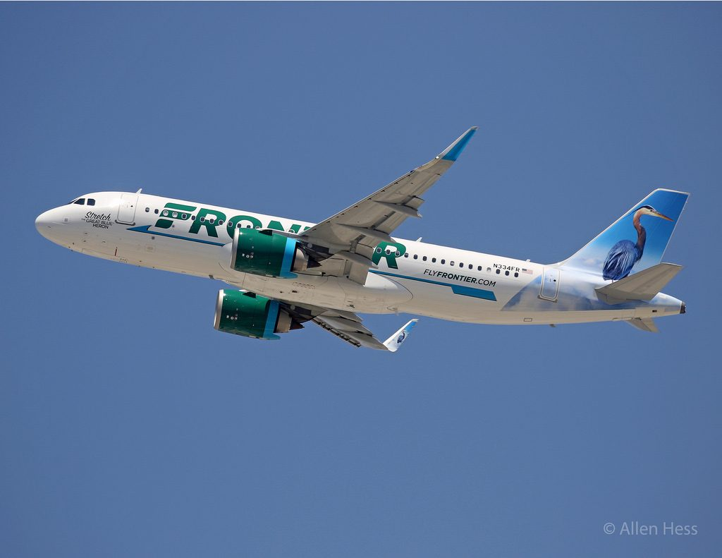 Frontier Airlines N334FR Airbus A320neo Stretch the Great Blue Heron @AllenHess