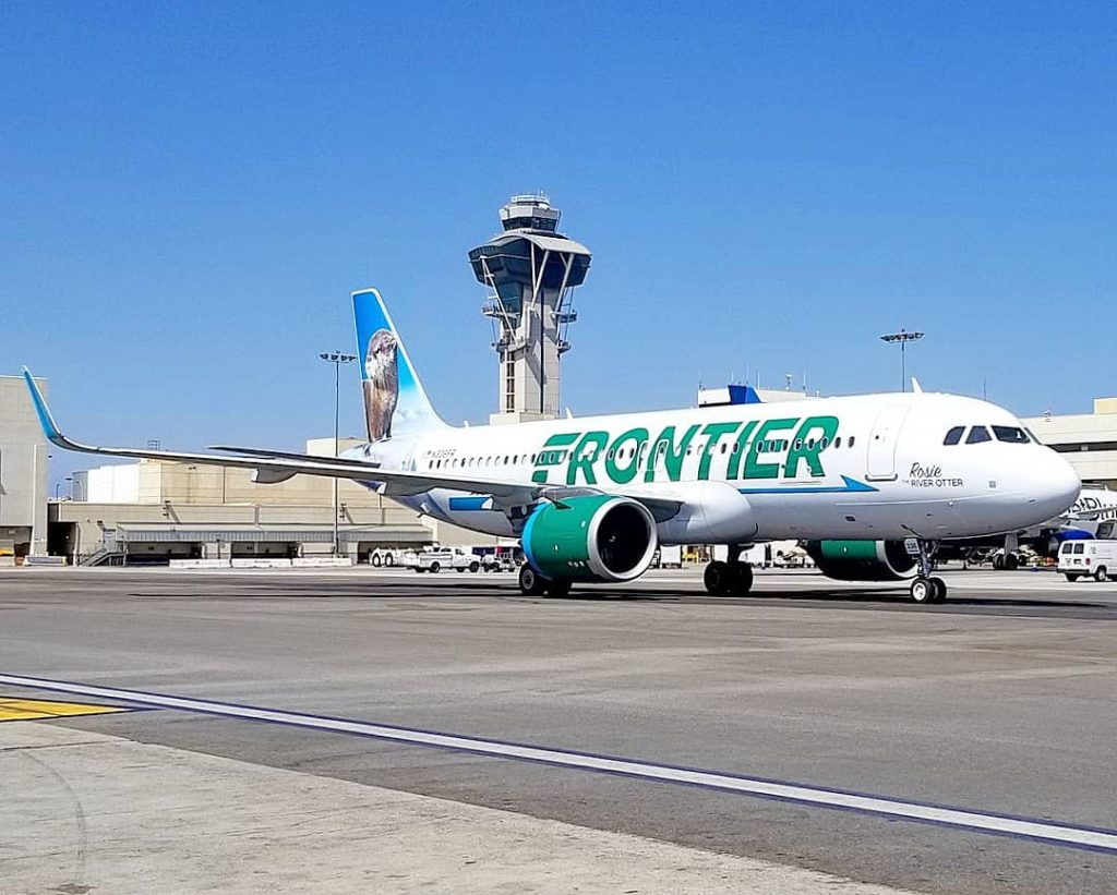 Frontier Airlines N336FR Airbus A320NEO Rosie the River Otter at terminal 5 and alley charlie 9 at LAX