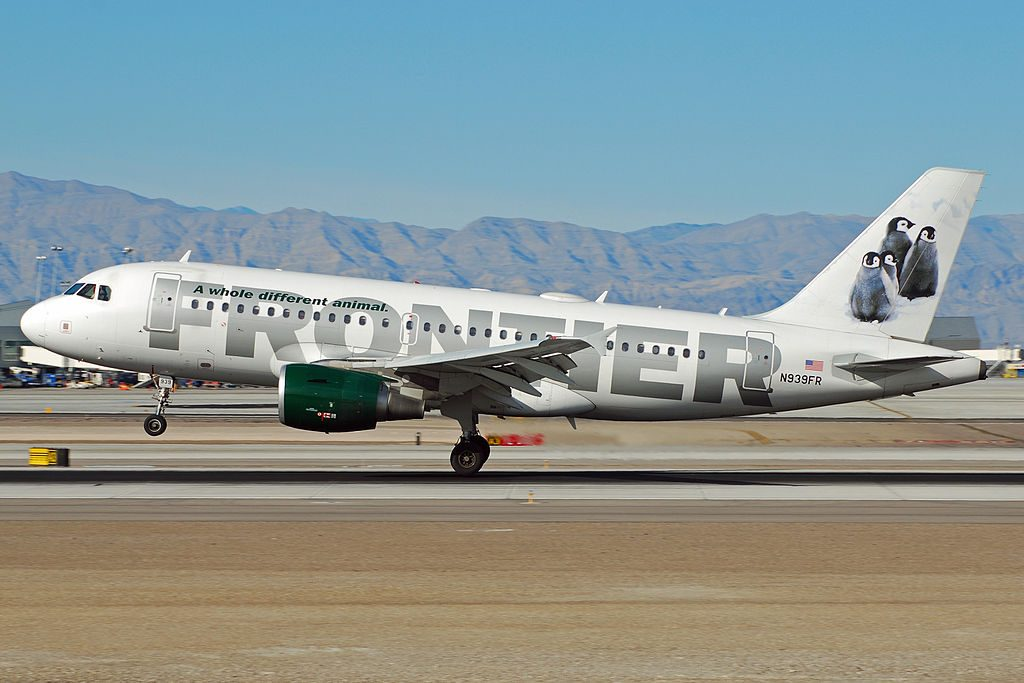 Frontier Airlines N939FR Emperor Penguins Jim Joe Jay Gary Airbus A319 112 landing and takeoff at McCarran International Airport