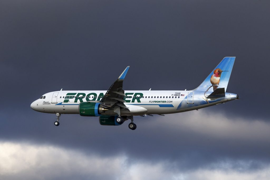 Frontier Airlines Narrow Body Aircraft Airbus A320neo N318FR Flower the Hummingbird