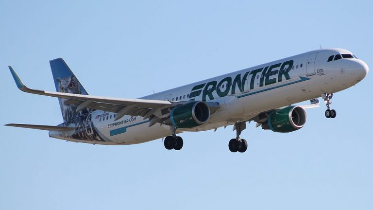 Frontier Airlines Otto the Owl Airbus A321 211 N701FR on final at KCLE Cleveland Hopkins International Airport