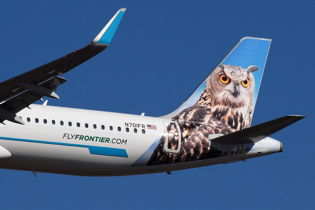 Frontier Airlines Otto the Owl Airbus A321 211 N701FR tail livery
