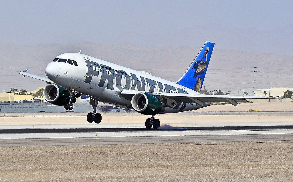 Frontier Airlines Pete the Pelican Airbus A319 112 N948FR hard landing at Las Vegas McCarran International LAS KLAS USA
