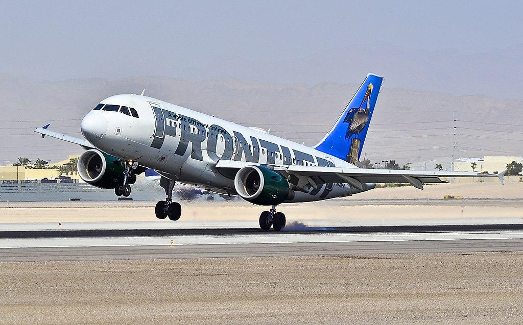 Frontier Airlines Pete the Pelican Airbus A319 112 N948FR hard landing at Las Vegas McCarran International LAS KLAS USA