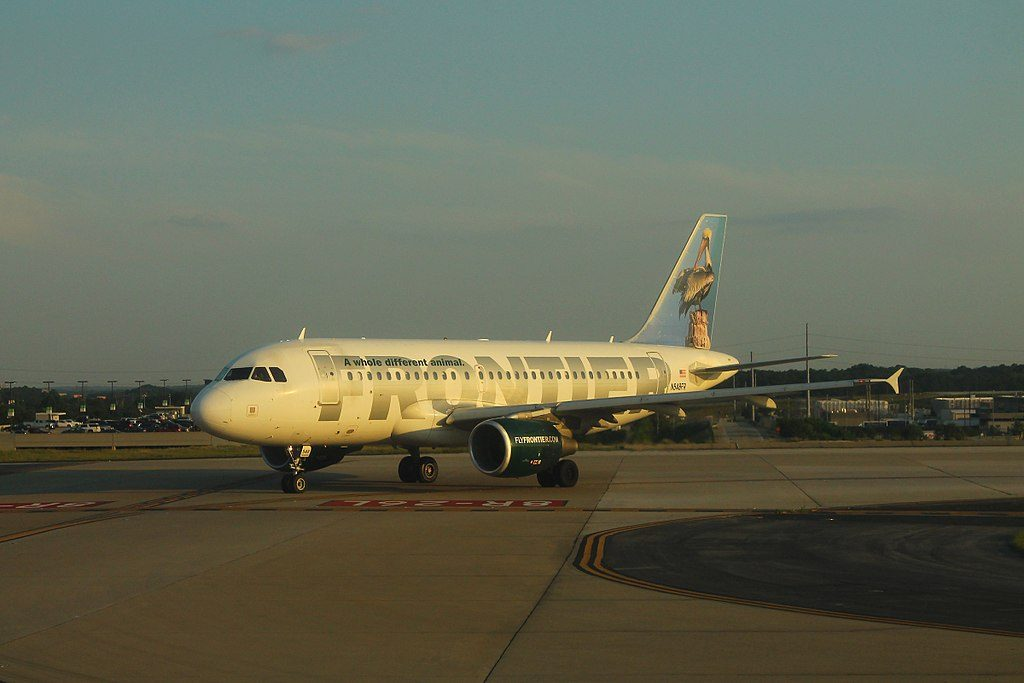 Frontier Airlines Pete the Pelican Airbus A319 112 N948FR taxiing at Hartsfield–Jackson Atlanta International Airport