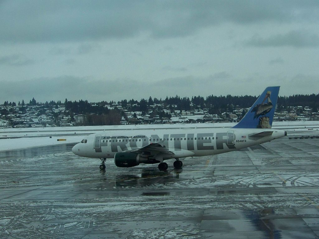 Frontier Airlines Pete the Pelican Airbus A319 112 N948FR taxiing at Portland International Airport