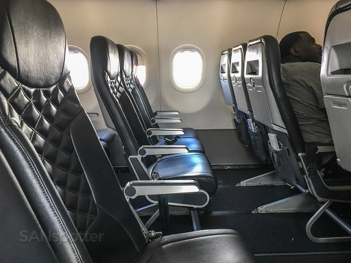 Frontier Airlines Stretch seats row Airbus A320 200 cabin interior configuration