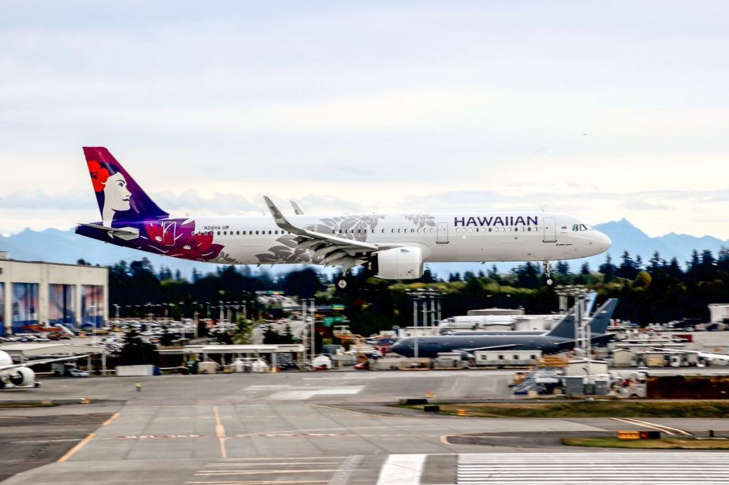 "Hawaiian Airlines A321 271N N216HA ""Māmane"" delivered from Hamburg and made a stop at Goose BayYYR before arriving at Paine Field"
