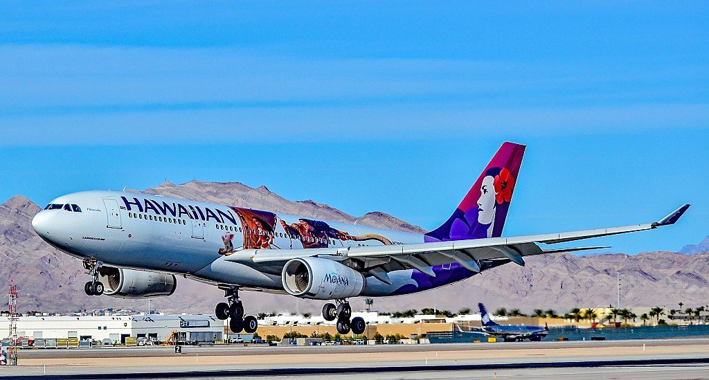 Hawaiian Airlines Airbus A330 243 N392HA 22Hikianalia22 on Moana logojet livery color scheme landing at McCarran Airport