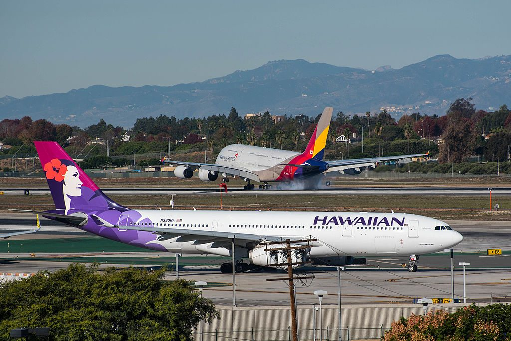 Hawaiian Airlines Airbus A330 243 cnserial number 1422 N393HA Lehuakona at Los Angeles International Airport