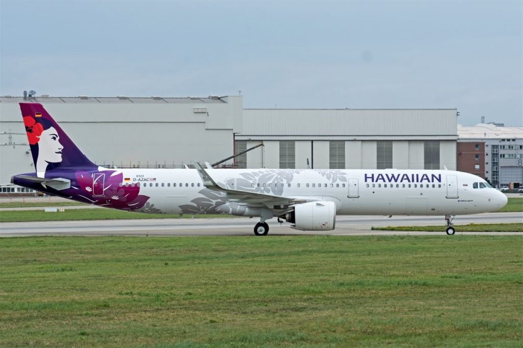 Hawaiian Airlines Aircraft Fleet Airbus A321 271N A321neo D AZAC N208HA MSN 8123 taxiing at Hamburg Finkenwerder Airport IATA XFW ICAO EDHI Germnay