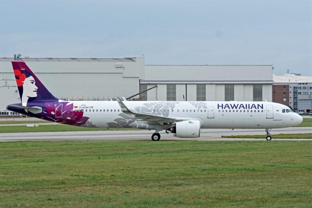 Hawaiian Airlines Aircraft Fleet Airbus A321 271N A321neo D AZAC N208HA MSN 8123 taxiing at Hamburg Finkenwerder Airport IATA XFW ICAO EDHI Germnay