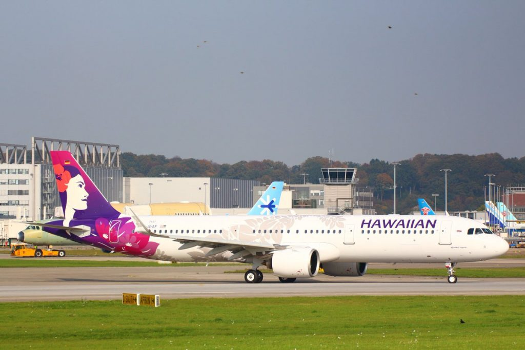 Hawaiian Airlines Aircraft Fleet Airbus A321 271N A321neo N202HA D AYAF MSN 7917 first flight at Hamburg Finkenwerder Airport IATA XFW ICAO EDHI