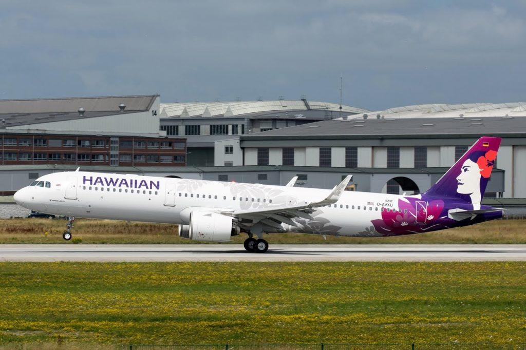 Hawaiian Airlines Aircraft Fleet Airbus A321 271N A321neo N213HA MSN 8237 Lama at Hamburg Finkenwerder Airport IATA XFW ICAO EDHI