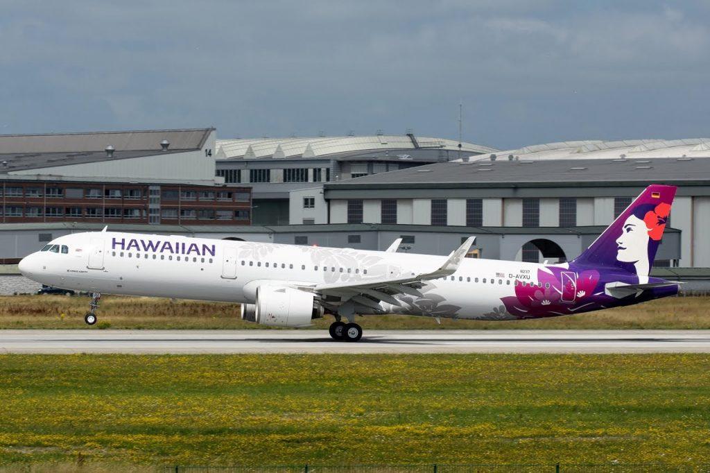 Hawaiian Airlines Aircraft Fleet Airbus A321 271N A321neo N213HA MSN 8237 Lama at Hamburg Finkenwerder Airport IATA XFW ICAO EDHI
