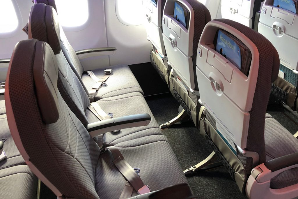 Hawaiian Airlines Aircraft Fleet Airbus A321neo Economy Class BE Slimline Pinnacle seat PED holders on the seat back USB and AC power available