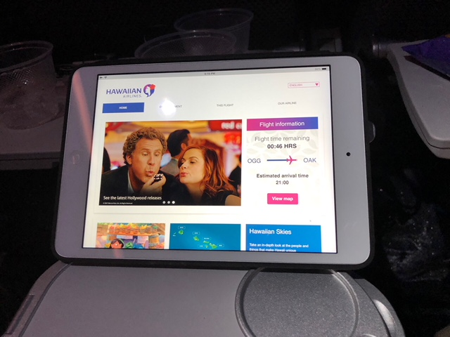 Hawaiian Airlines Aircraft Fleet Airbus A321neo First Class Cabin Inflight Entertainment System iPad mini tablets free in First and for rent in Economy