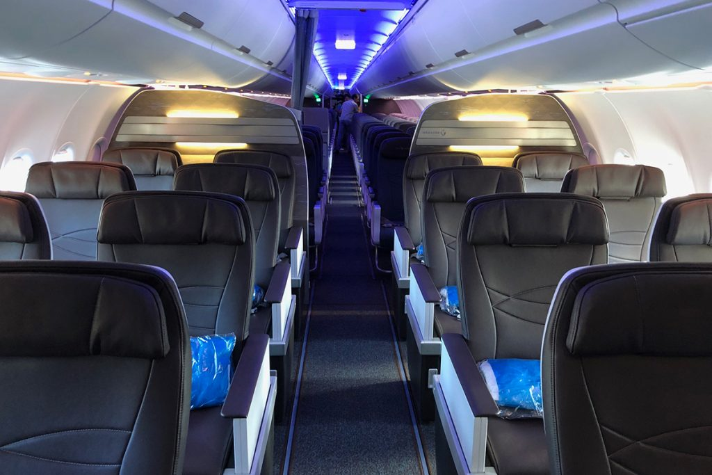Hawaiian Airlines Aircraft Fleet Airbus A321neo First Class Cabin Interior and BE MiQ seats layout 2 2 configuration