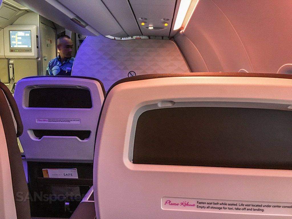 Hawaiian Airlines Aircraft Fleet Airbus A321neo First Class Cabin Seats no video screens in the headrests @SANspotter