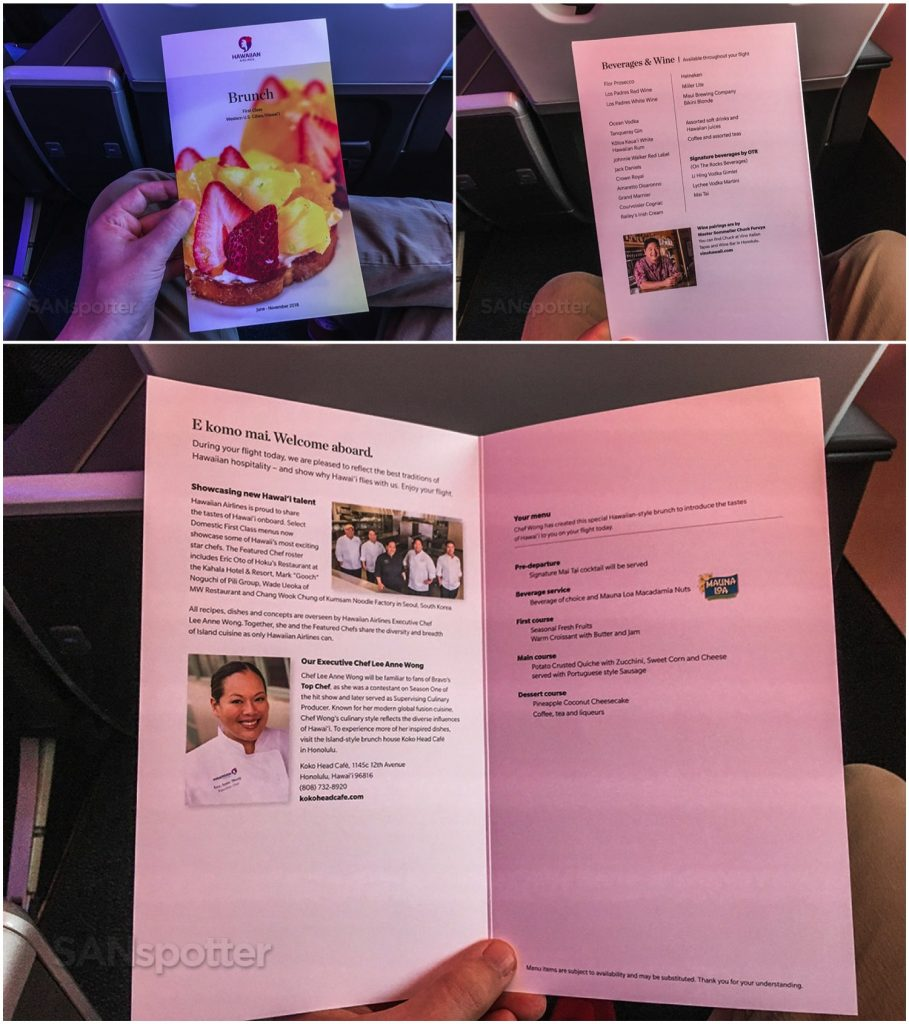 Hawaiian Airlines Aircraft Fleet Airbus A321neo First Class Cabin breakfast menus Photos @SANspotter
