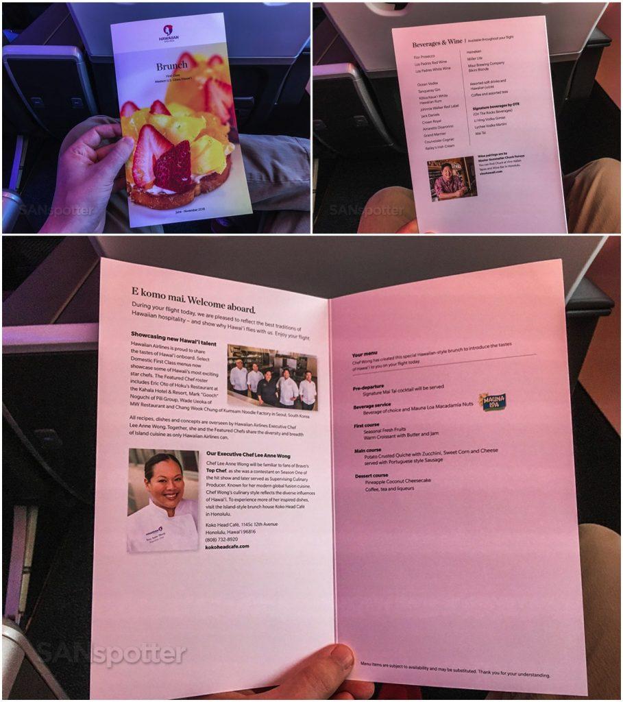 Hawaiian Airlines Aircraft Fleet Airbus A321neo First Class Cabin breakfast menus Photos @SANspotter