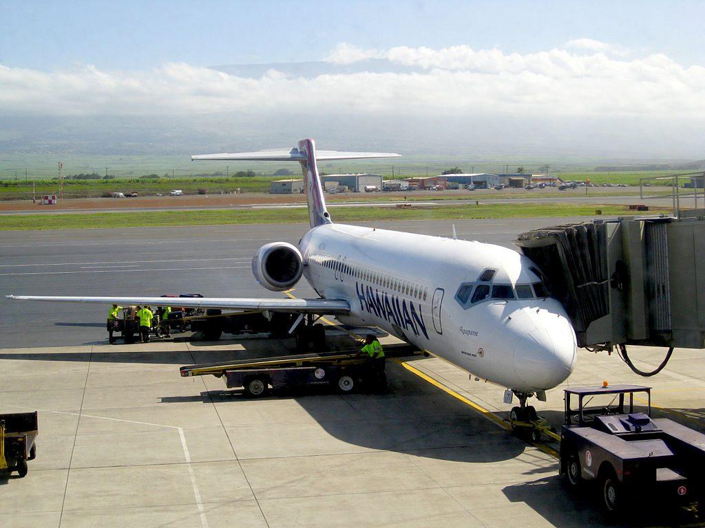 Hawaiian Airlines Boeing 717 200 N477HA Apapane at Kahului Airport OGG on Maui in December 2009