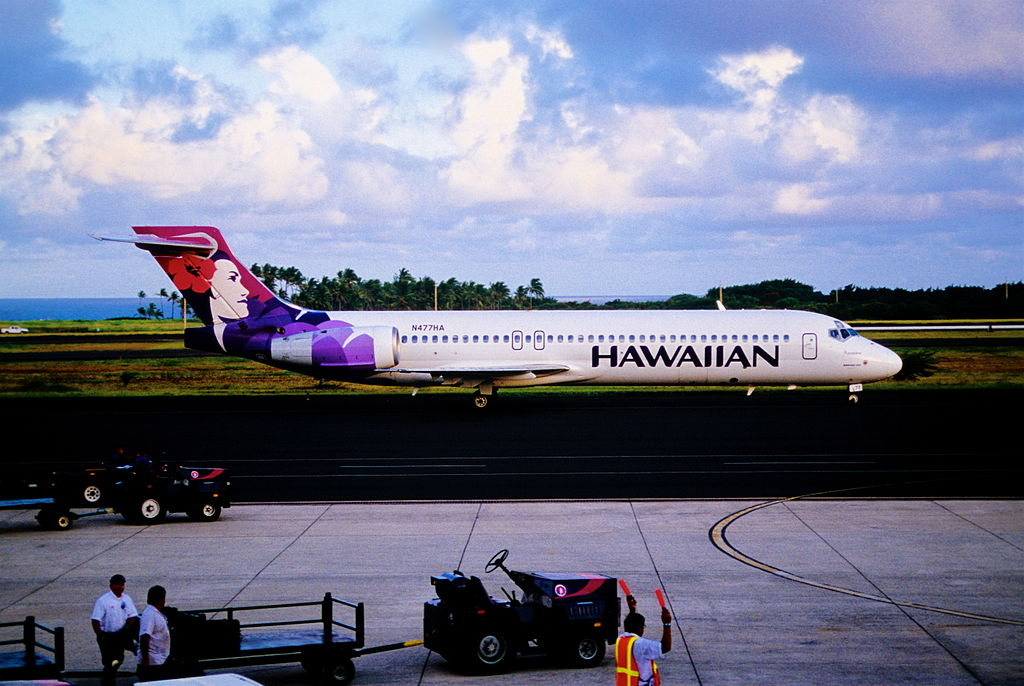 Hawaiian Airlines Boeing 717 200 N477HA Apapane taxiing at Lihue airport after arriving from Honolulu