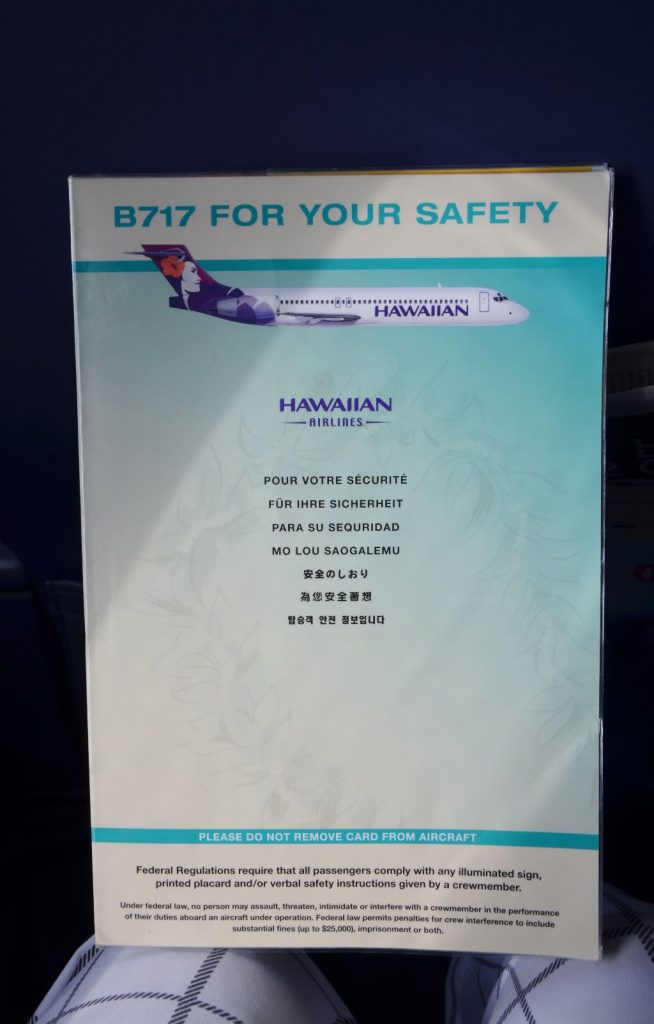 Hawaiian Airlines Boeing 717 200 first class cabin safety card photos