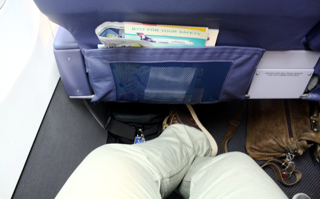 Hawaiian Airlines Boeing 717 200 first class seat pitch is better than in most domestic First cabins