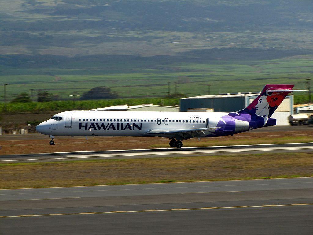 Hawaiian Airlines Boeing 717 2BL N491HA Akohekohe landing at Kahului Airport
