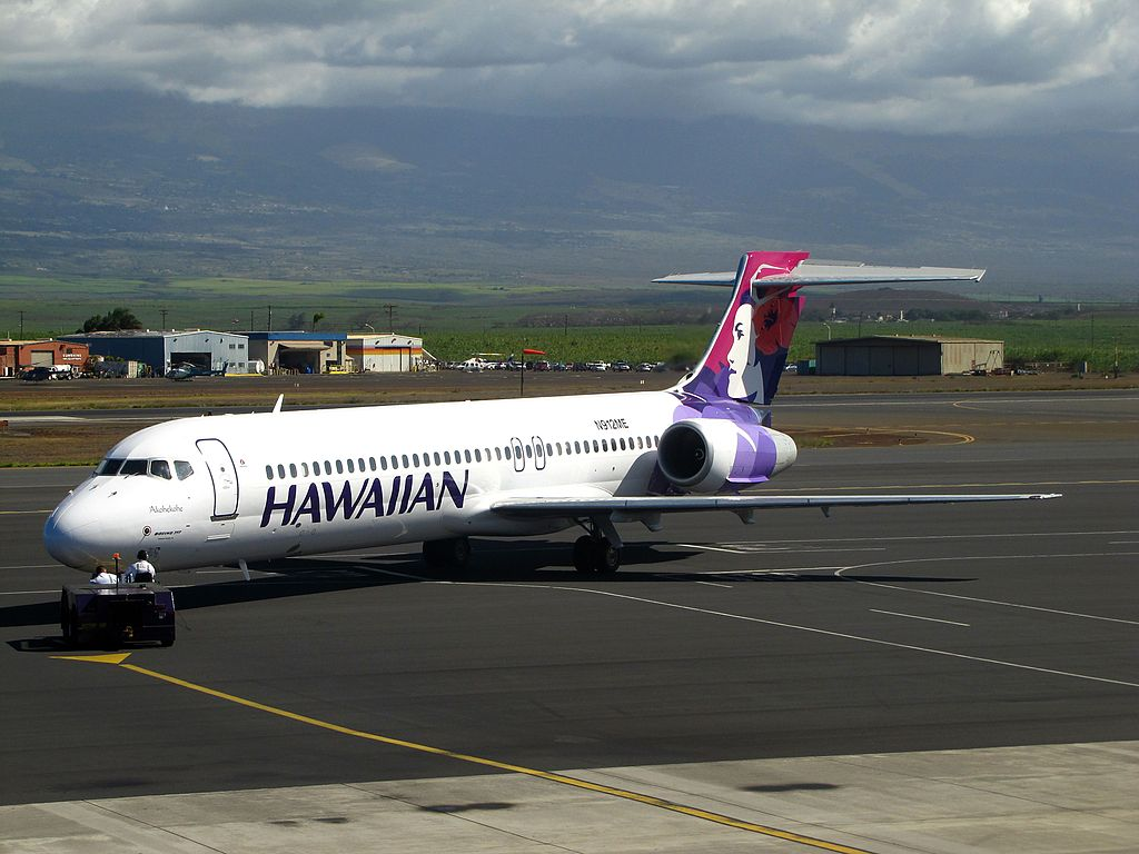 Hawaiian Airlines Boeing 717 2BL N491HA Akohekohe pushed back at Kahului Airport
