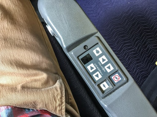 Hawaiian Airlines Boeing 767 300ER Economy Class Cabin Entertainment controls in the armrest @SANspotter