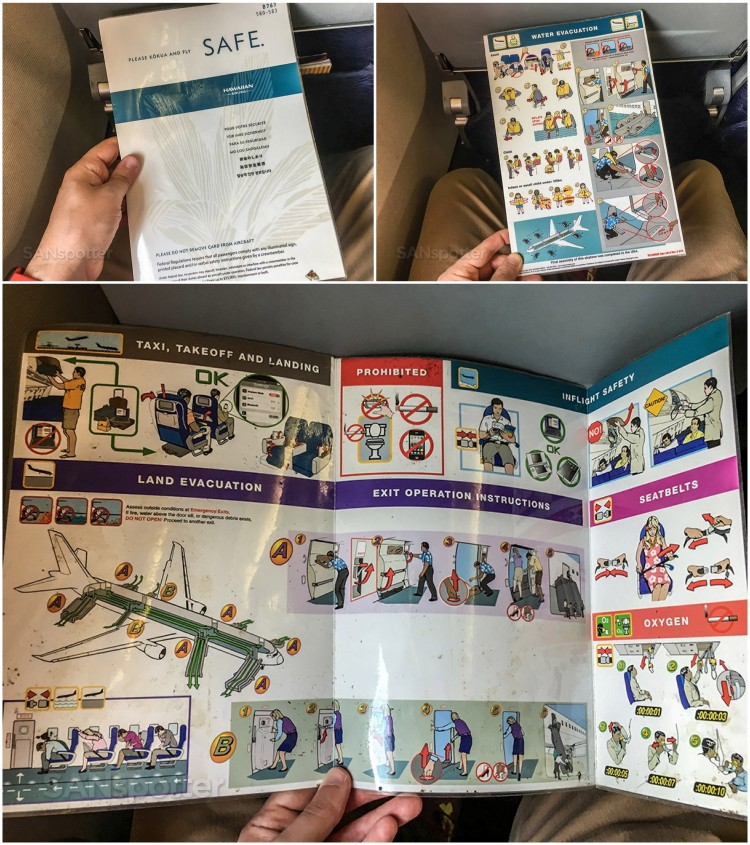 Hawaiian Airlines Boeing 767 300ER Economy Class Cabin Safety Cards
