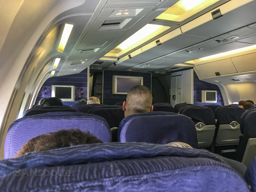 Hawaiian Airlines Boeing 767 300ER Economy Class Cabin purple interior