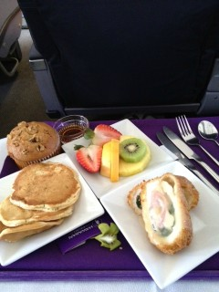 Hawaiian Airlines Boeing 767 300ER First Class Cabin Inflight Meal Food services