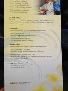 Hawaiian Airlines Boeing 767 300ER First Class Cabin Meal Food BreakfastLunchDinner Menu