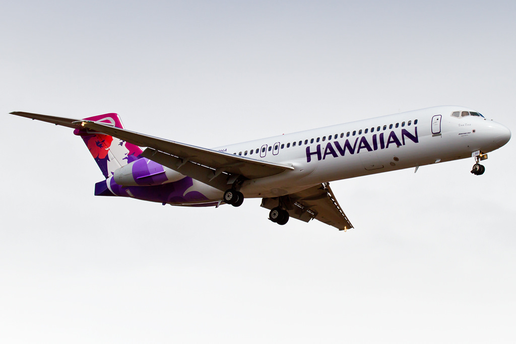Hawaiian Airlines Fleet Boeing 717 200 N492HA Ewa Ewa on short final at Kahului Airport