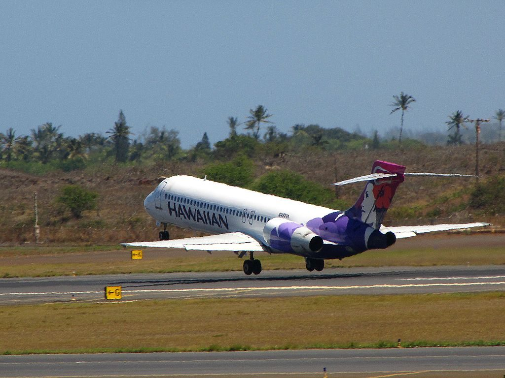 Hawaiian Airlines Fleet Boeing 717 22A cnserial number 551265073 N481HA Alauahio at Kahului Airport