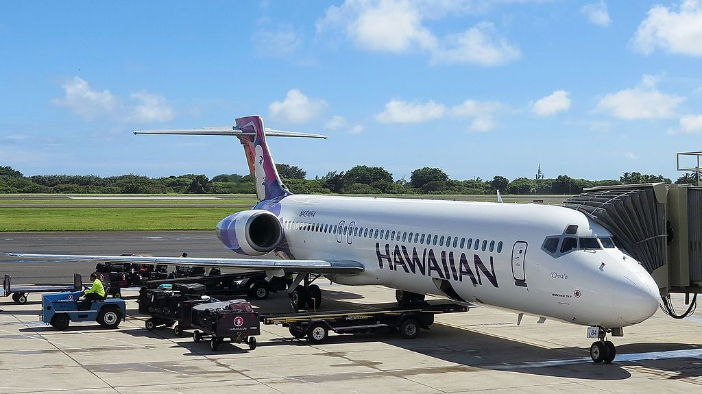 Hawaiian Airlines Fleet Boeing 717 22A cnserial number 551295080 N484HA Omao on boarding gate at Lihue Airport Kauai Hawaii United States