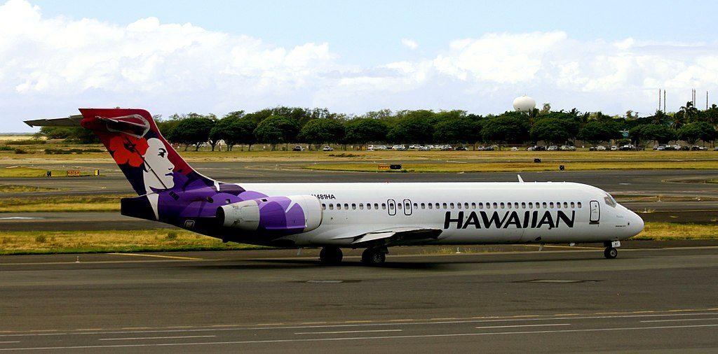 Hawaiian Airlines Fleet Boeing 717 26R N488HA Puaiohi taxiing on runway at Honolulu International Airport Hawaii