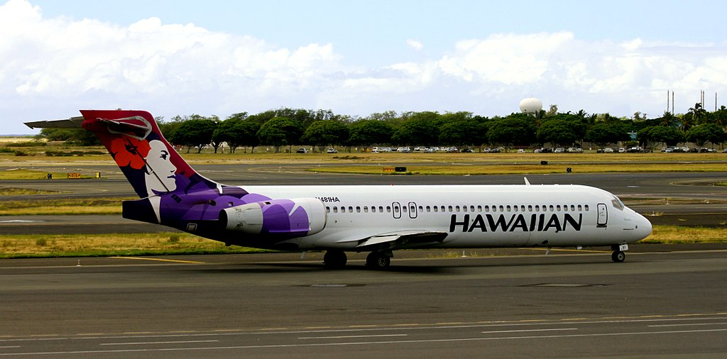Hawaiian Airlines Fleet Boeing 717 26R N488HA Puaiohi taxiing on runway at Honolulu International Airport Hawaii
