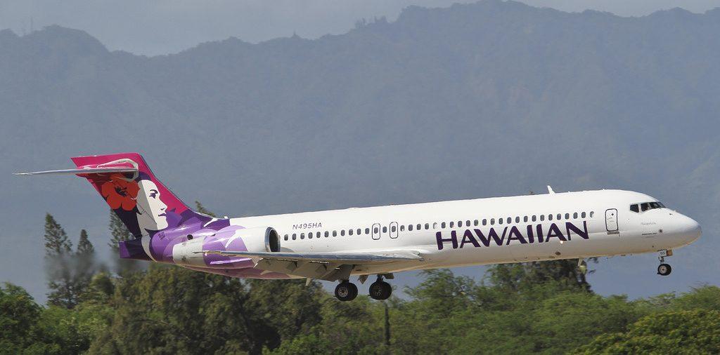 Hawaiian Airlines Narrow Body Airliner Boeing 717 200 N495HA Akiapolaau short final before landing at HNL