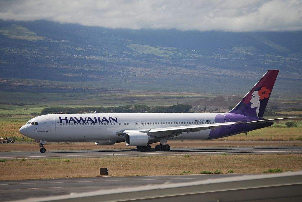 Hawaiian Airlines Widebody Aircraft Boeing 767 332 cnserial number 23275136 N594HA Ulili at Kahului Airport