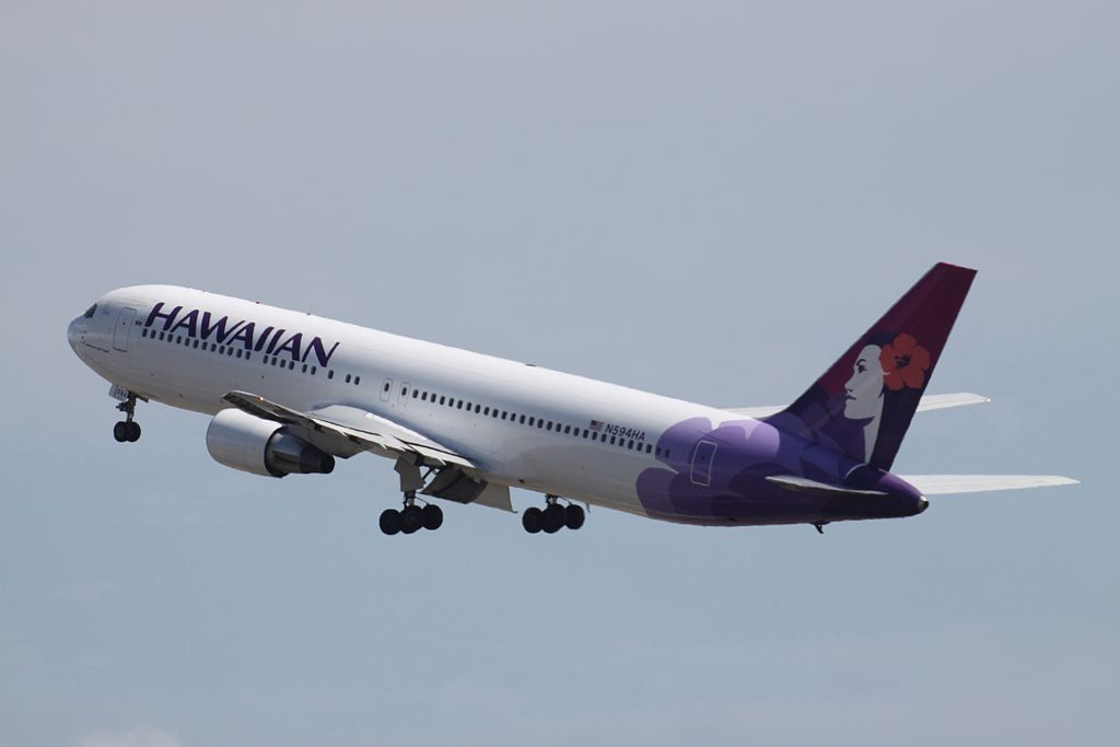 Hawaiian Airlines Widebody Aircraft Boeing 767 332 cnserial number 23275136 N594HA Ulili departing Honolulu International Airport