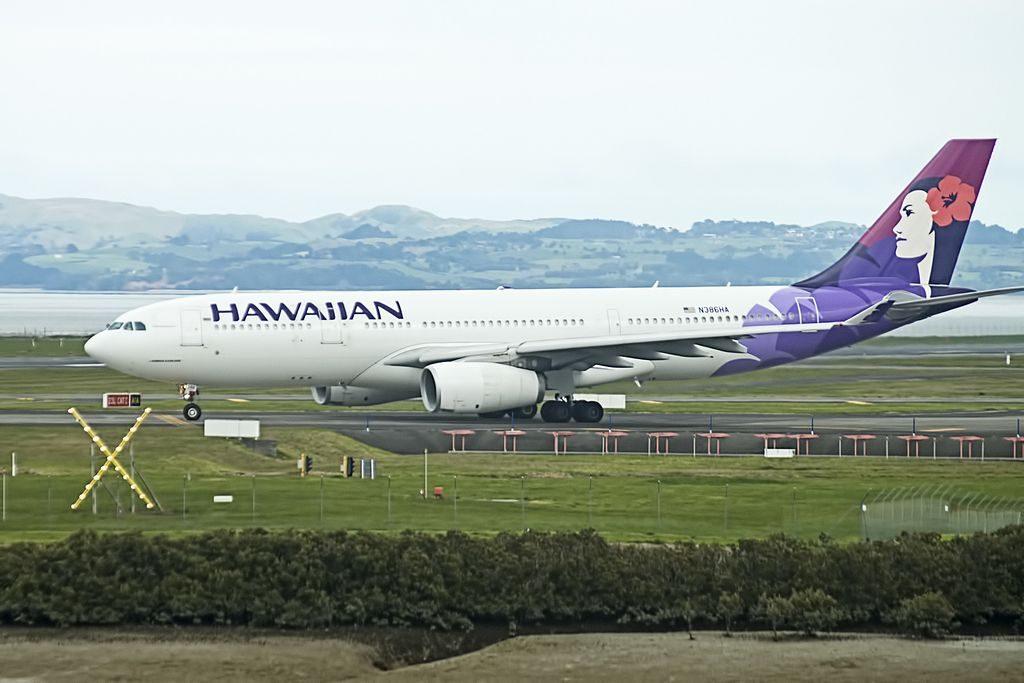 Hawaiian Airlines Widebody Aircraft Fleet Airbus A330 243 N386HA Heiheionakeiki AKL HNL departing Auckland Airport IATA AKL ICAO NZAA