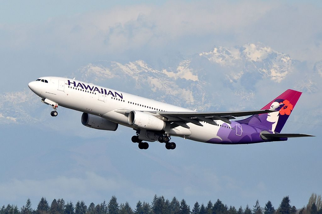 Hawaiian Airlines Widebody Aircraft Fleet Airbus A330 243 N395HA Aa departing Seattle–Tacoma International Airport IATA SEA ICAO KSEA FAA LID SEA