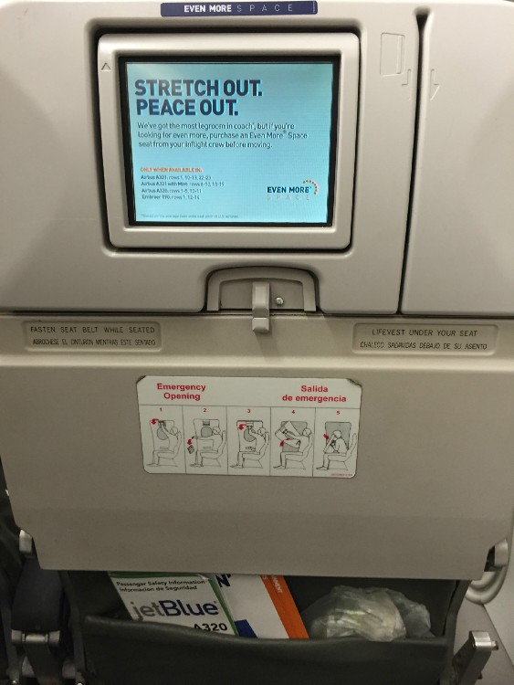 JetBlue Airbus A320 200 Premium Economy Even More Space Seats Backseat IF Screen System