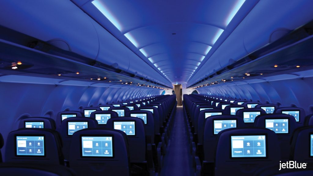 JetBlue Airbus A320 200 Restyled Interior Cabin LED moodlighting with larger overhead bins sidewalls and carpets