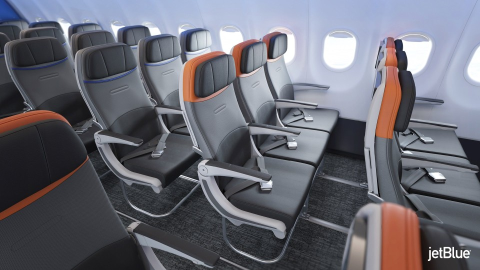 JetBlue Airbus A320 200 Restyled Interior Cabin Standard Coach Seats Rockwell Collins Meridian offers widest economy